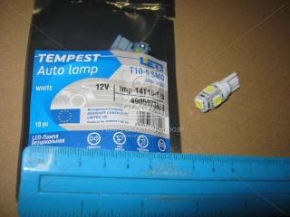 Лампа LED б/ц габарит и панель приборов T10 5SMD W5W 12V WHITE <TEMPEST> TEMPEST